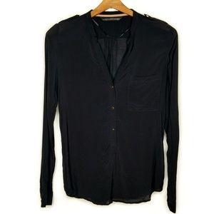 Zara Woman Black Blouse W/ Gold Buttons XS